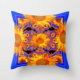 Golden Sunflowers Ornate Blue Patterns Throw Pillow