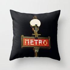 Metro - Paris Subway Sign Throw Pillow