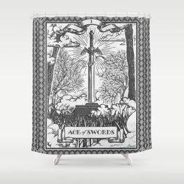 Legend of Zelda Master Sword Vintage Tarot Scene Shower Curtain