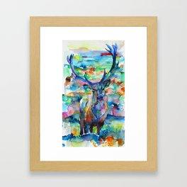 DEER - watercolor painting Framed Art Print