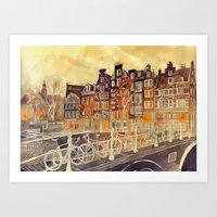 takmaj Art Prints featuring Amsterdam by takmaj