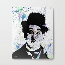 Charlie Chaplin-Watercolor Metal Print