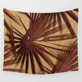 Burgundy and Coffee Tropical Beach Palm Vector Wall Tapestry