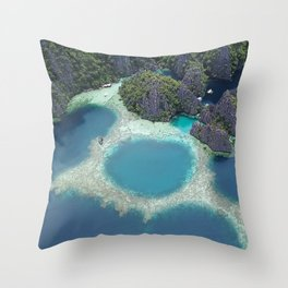 the blue hole in coron Philippines Throw Pillow