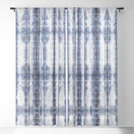 Tiki Shibori Blue Sheer Curtain