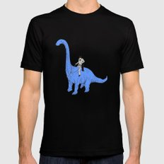 Dinosaur B Black Mens Fitted Tee LARGE