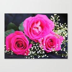 Pink Roses On Black I Canvas Print