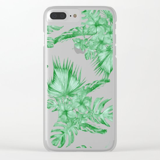 Palm Leaves and Hibiscus Tropical Green Clear iPhone Case