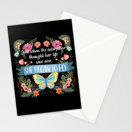 She Began To Fly Hand Lettered Floral Sign Stationery Cards