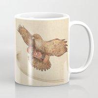 hawk Mugs featuring Hawk by Terry Fan