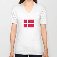 denmark V-neck T-shirts featuring denmark country flag by tony tudor