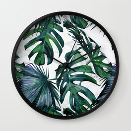 Tropical Palm Leaves Classic on Marble Wall Clock
