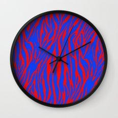 Zebra Print Red and Blue Wall Clock