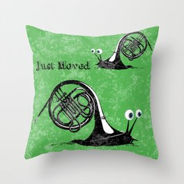 Just moved.  (French Horn) Throw Pillow