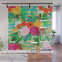 Cute Watercolor Red & Yellow Floral Biscay Green Design Wall Mural