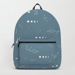 Moon phase boho zodiac sign teal blue night Backpack