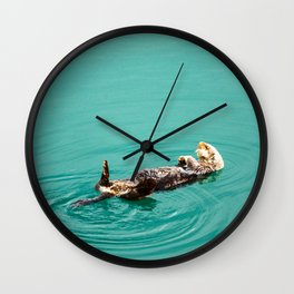 Otter Watercolor Wall Clock