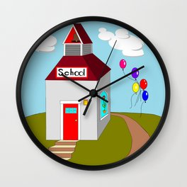 An Ole School House with Balloons Wall Clock
