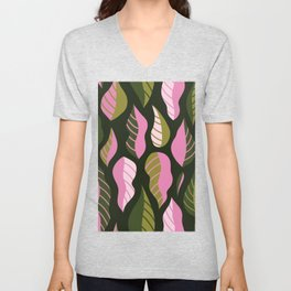 Cute retro leaves hand drawn illustration pattern. Simple design in pink and green colorways. Abstract nature design. Modern decoration. Unisex V-Neck