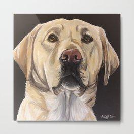 Yellow Lab Art, Cute Dog Painting Metal Print