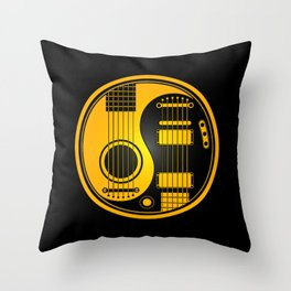 Yellow and Black Acoustic Electric Yin Yang Guitars Throw Pillow
