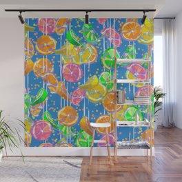 Pop Art Citrus Fizz | Blue Wall Mural
