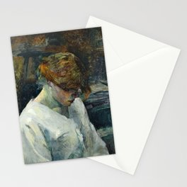 "Henri de Toulouse-Lautrec ""La Rousse in a White Blouse"" Stationery Cards"