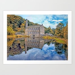 gibson mill reflected in an autumn pond Art Print