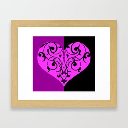 Gothic Victorian Black and Purple Heart Framed Art Print