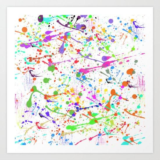 Paint Splatter 2 - White Art Print