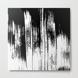 Modern black white watercolor brushstrokes pattern Metal Print