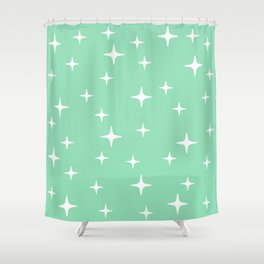 Mid Century Modern Star Pattern 443 Mint Green Shower Curtain