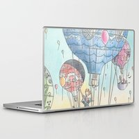 hot air balloon Laptop & iPad Skins featuring Hot air balloon party by Dreamy Me