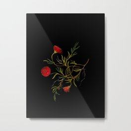 Mesembryanthemum Tenuifolium Mary Delany Delicate Paper Flower Collage Black Background Floral Metal Print
