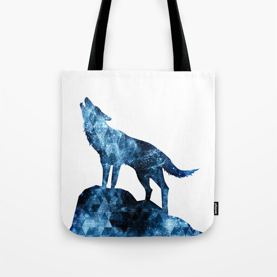 Howling Wolf blue sparkly smoke silhouette Tote Bag