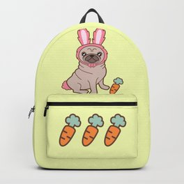 Pug dog in a rabbit costume Backpack