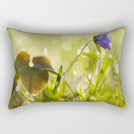 Beautiful spring - first flower little anemone with beautiful bokeh in green background Rectangular Pillow