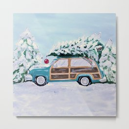 Blue vintage Christmas woody car with pine tree Metal Print