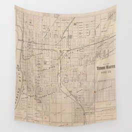 Vintage Map of Terre Haute Indiana (1876) Wall Tapestry