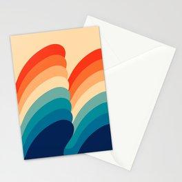 Retro 80s 70s Blue and Orange Mid-Century Minimalist Abstract Art Ripples Stationery Cards