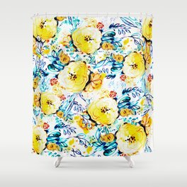 Yellow painted flowers Shower Curtain