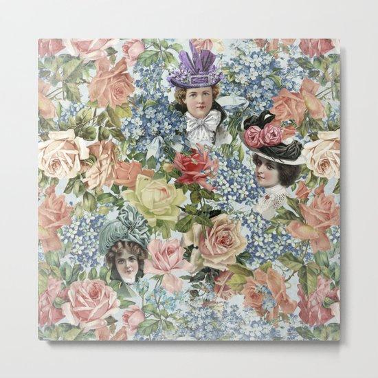 Vintage Botanical Flower Lady with Hut Pattern Metal Print