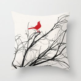 Red Bird on a Branch A533 Throw Pillow