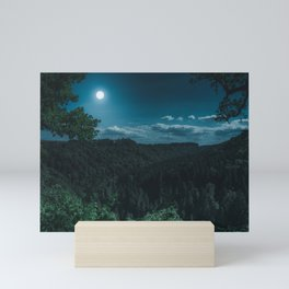 Night Forest with MoonLight Mini Art Print