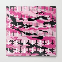 Pink Camo Upside Down Cross Pattern Metal Print