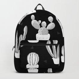 Black and White Desert Cacti Pattern Backpack
