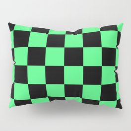 Black and Green Checkerboard Pattern Pillow Sham