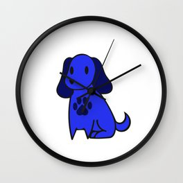 The Blue Dog With Paw Print Wall Clock