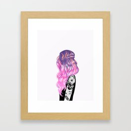 pink hair, flower sleeve Framed Art Print