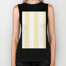 Wide Vertical Stripes - White and Blond Yellow Biker Tank